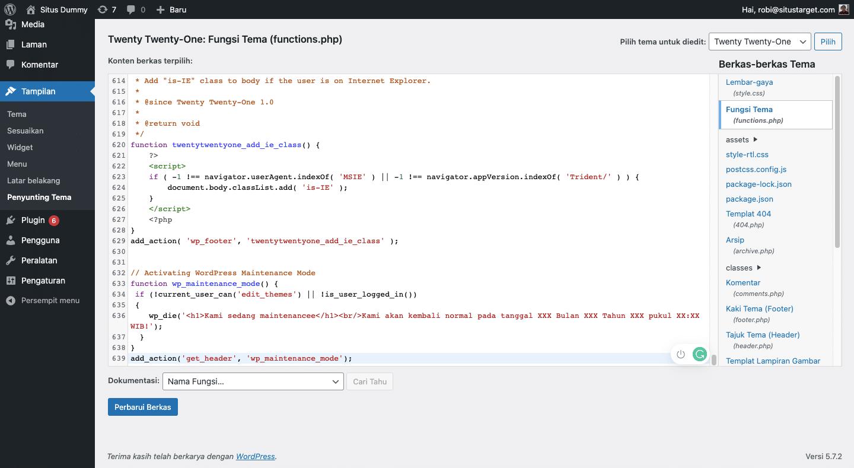 Cara mengaktifkan pemeliharaan WP dengan Functions.php