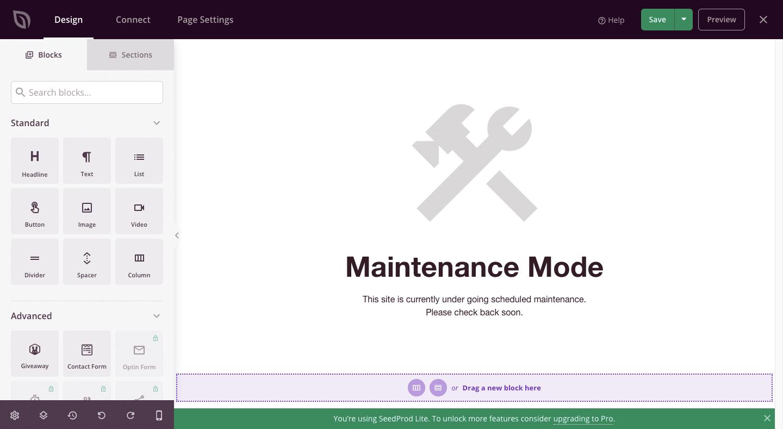 Page Builder plugin SeedProd untuk membantu membuat halaman maintenance Situs WP.