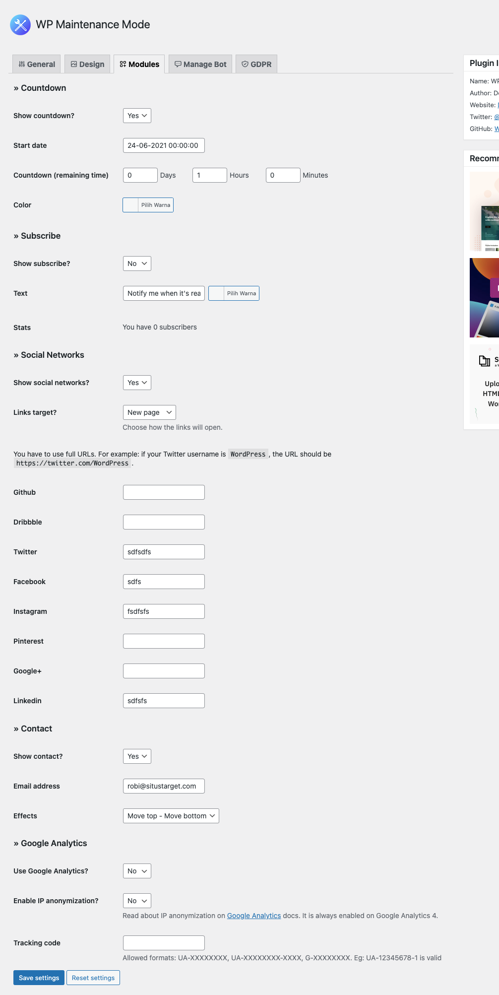 Pengaturan modules pada plugin WP Mode Pemeliharaan