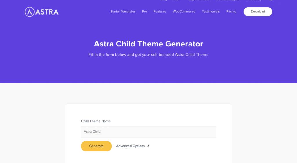 Cara membuat child theme WPAstra menggunakan generator
