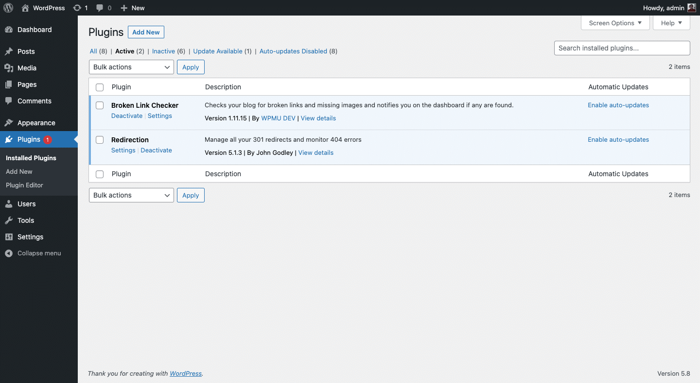 Cara menonaktifkan plugin WordPress melalui laman dashboard WordPress.