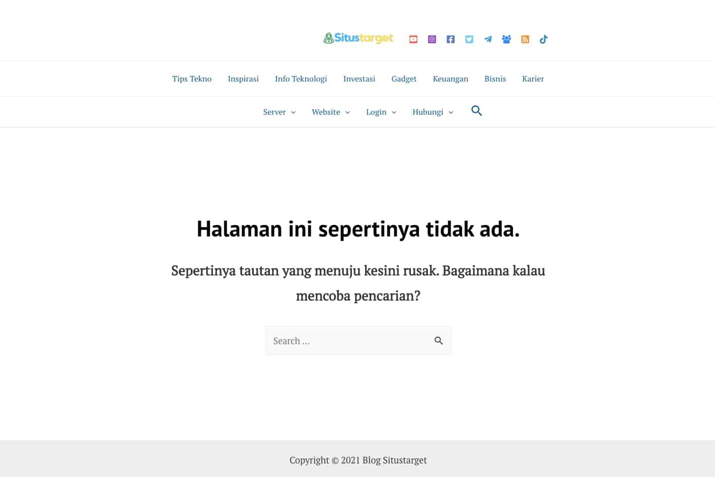 Contoh halaman eror 404 pada situstarget.com