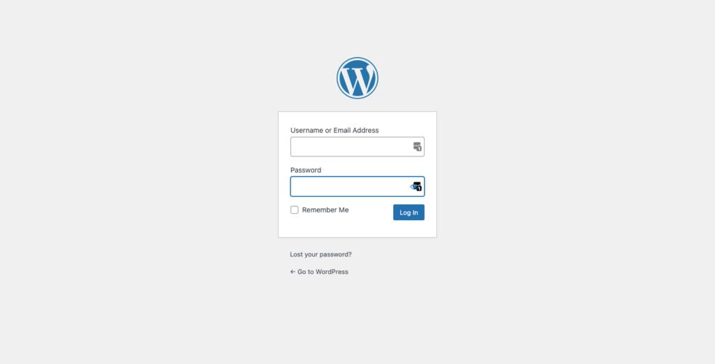 Tampilan halaman login standar bawaan WordPress