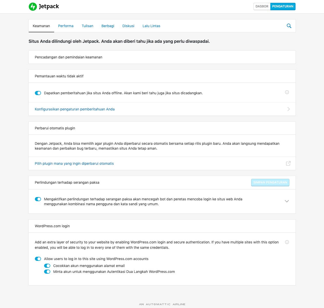 Fungsi dan maaf jetpack untuk Blog WordPress
