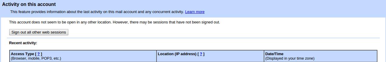 Signout seluruh sesi pada aktivitas akun Gmail Anda
