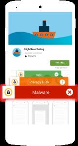 Notifikasi pemberitahuan ancaman oleh norton mobile antivirus di Google Playstore