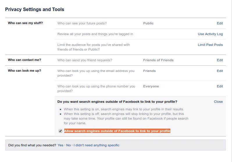 Tips menyembunyikan profil facebook dari indeks mesin pencari