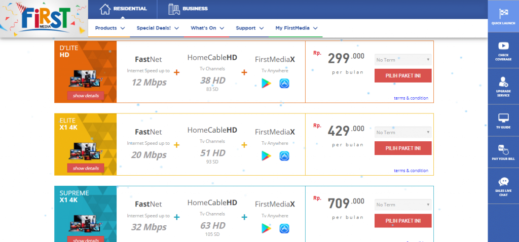Berlangganan paket internet unlimited firstmedia