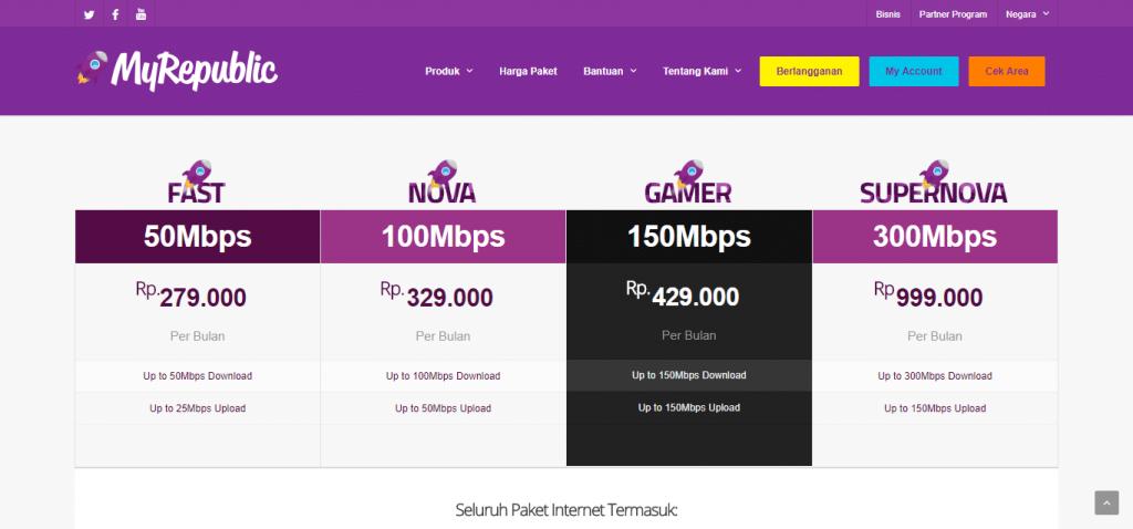 Paket internet unlimited dari Myrepublic