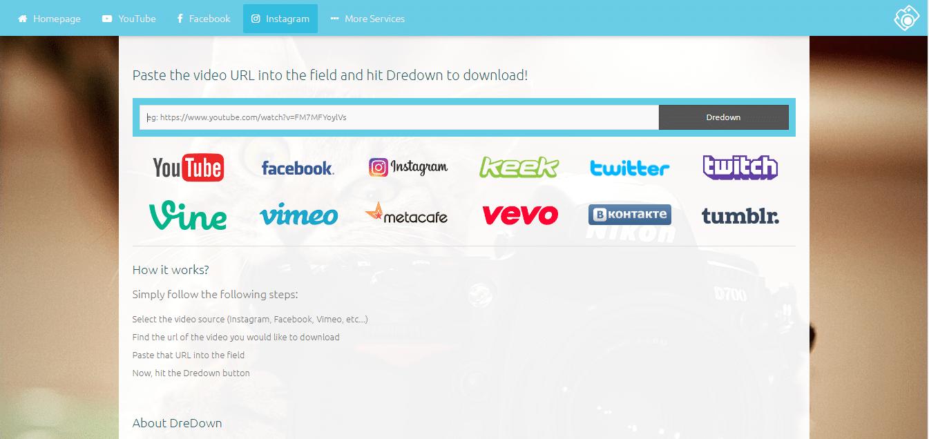 Dredown untuk Download Video Instagram dan Pinterest