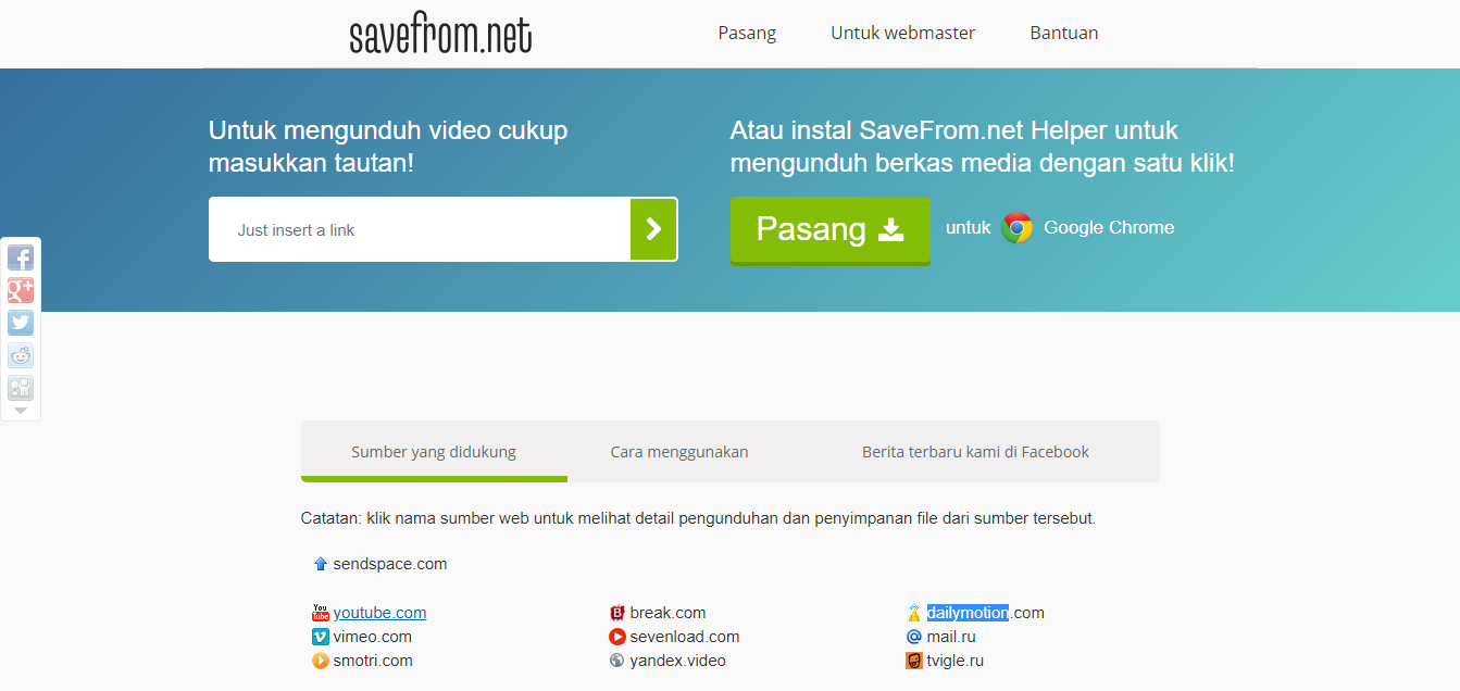SaveFrom.net untuk Download Video Vimeo, Facebook,Soundcloud, Dan lain-lain