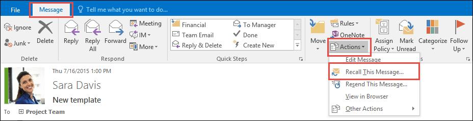 Cara menarik kembali pesan yang terkirim di Outlook