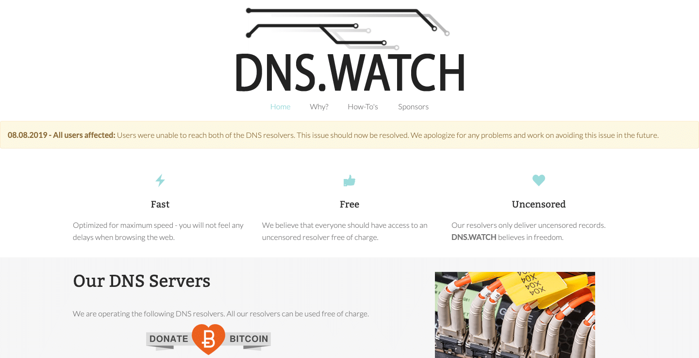 DNS Watch, DNS srver yang gratis, cepat, dan tanpa sensor