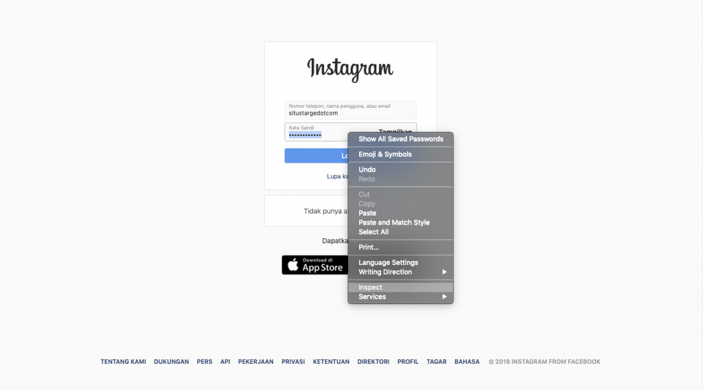 Inspect elemen pada login website instagram