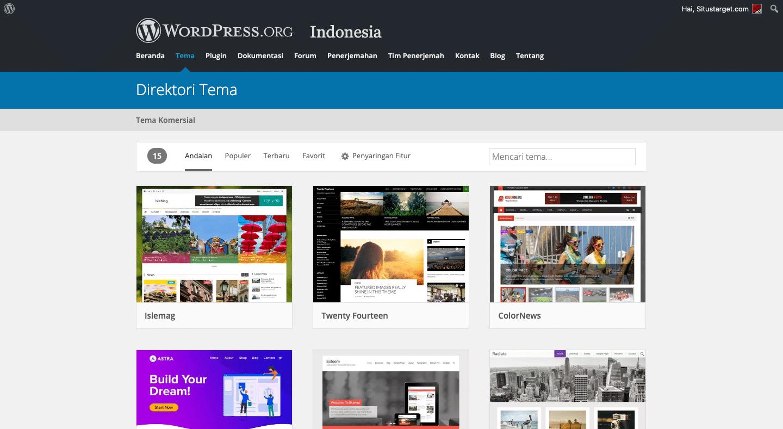 Pilihan berbagai Tema WordPress gratis