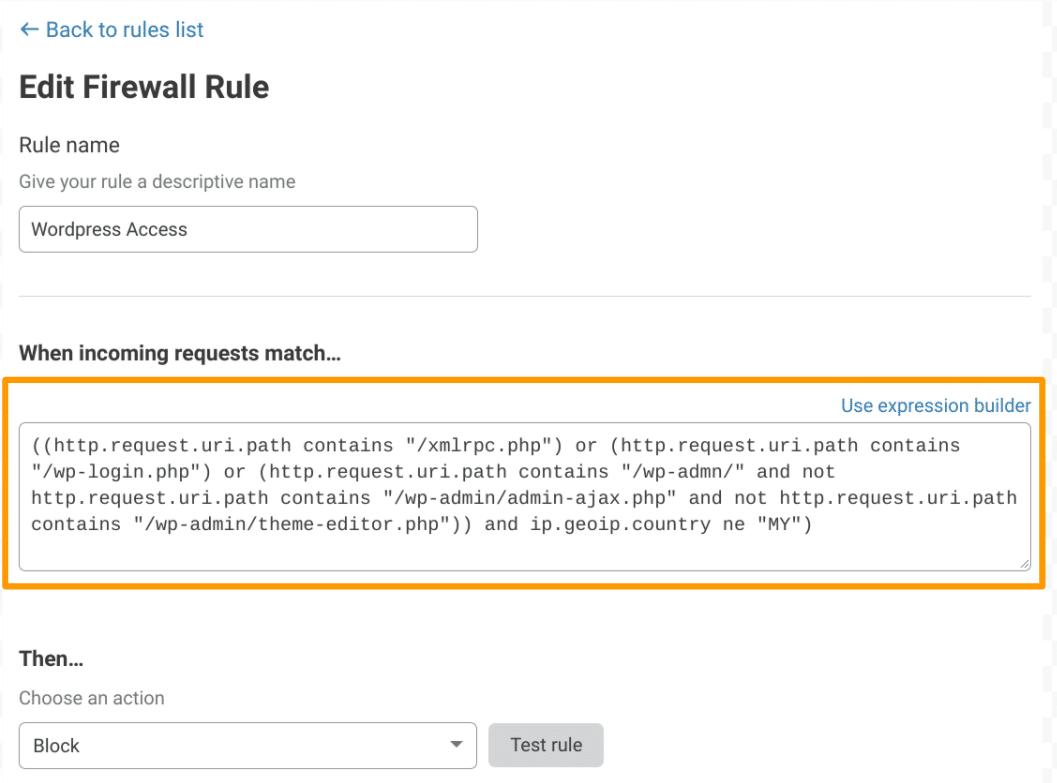 Contoh cara memasukkan Cloudflare Firewall Rules