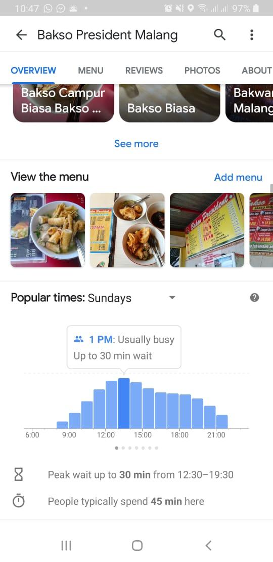 Ini salah satu jam sibuk yang terdapat di aplikasi Google Maps, hindari datang saat jam sibuk seperti ini
