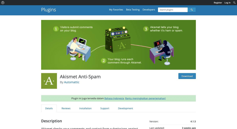 Akimset Plugin untuk meminimalisir serangan spam pada blog WordPress