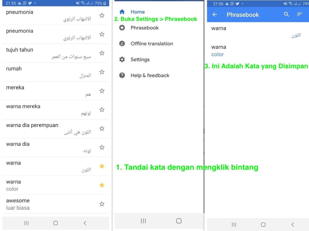 Cara Menyimpan Kata di Google Terjemahan