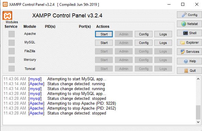 Cara mengaktifkan modul di aplikasi XAMPP