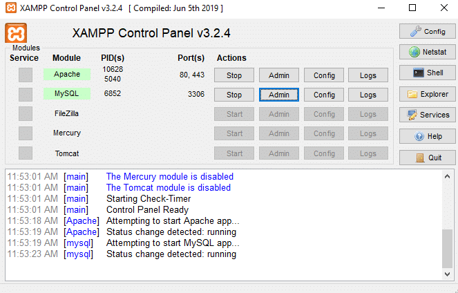 Aktifkan module MySQL di XAMPP