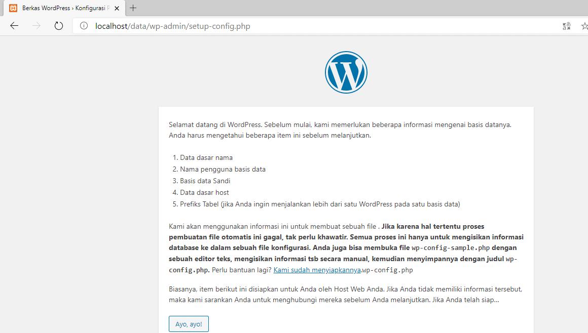 Proses instalasi WordPress di XAMPP