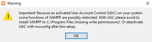 Cara Memperbaiki User Account Control Windows 10 untuk Aplikasi XAMPP