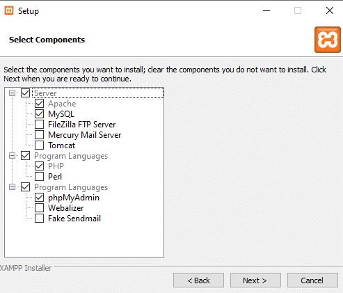 Komponen XAMPP yang diperlukan untuk instalasi WordPress