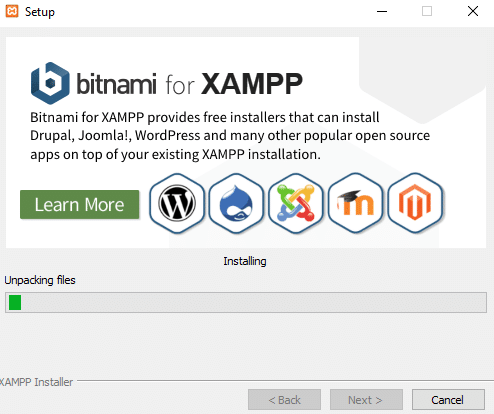 Proses pemasangan bitnami for XAMPP di Windows 10