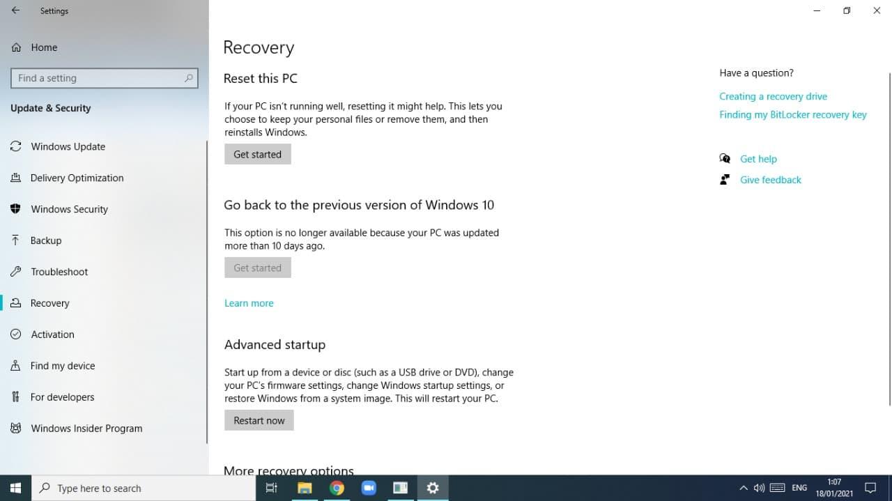 Mengembalikan pengaturan awal di Windows 10