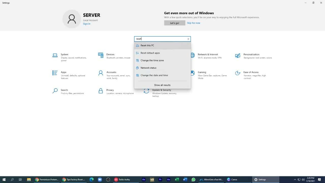 Cara reset Windows 10 ke pengaturan awal dengan menghapus seluruh file