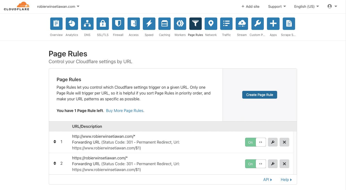 Cara Menggunakan Page Rule Cloudflare Untuk Redirect