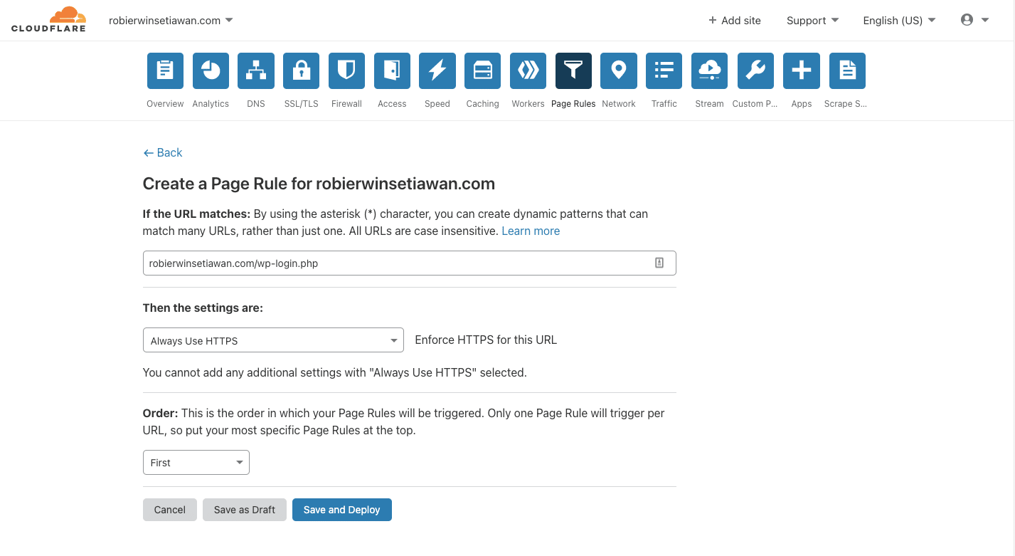 Cara Menggunakan Page Rule untuk Selalu Menggunakan HTTPS