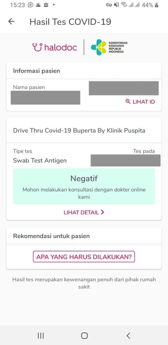 Hasil swab test melalui aplikasi Halodoc
