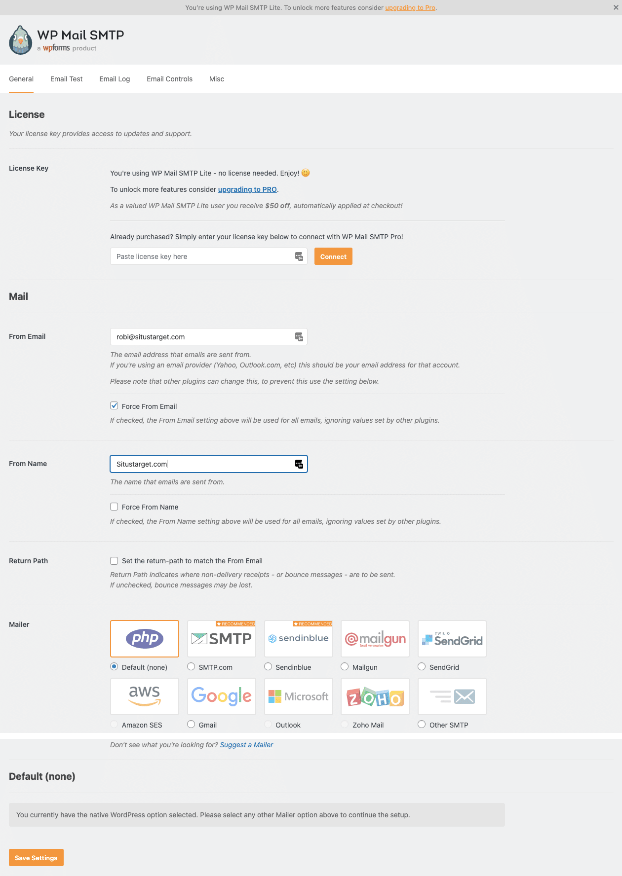 Pengaturan Pada Plugin SMTP di WordPress