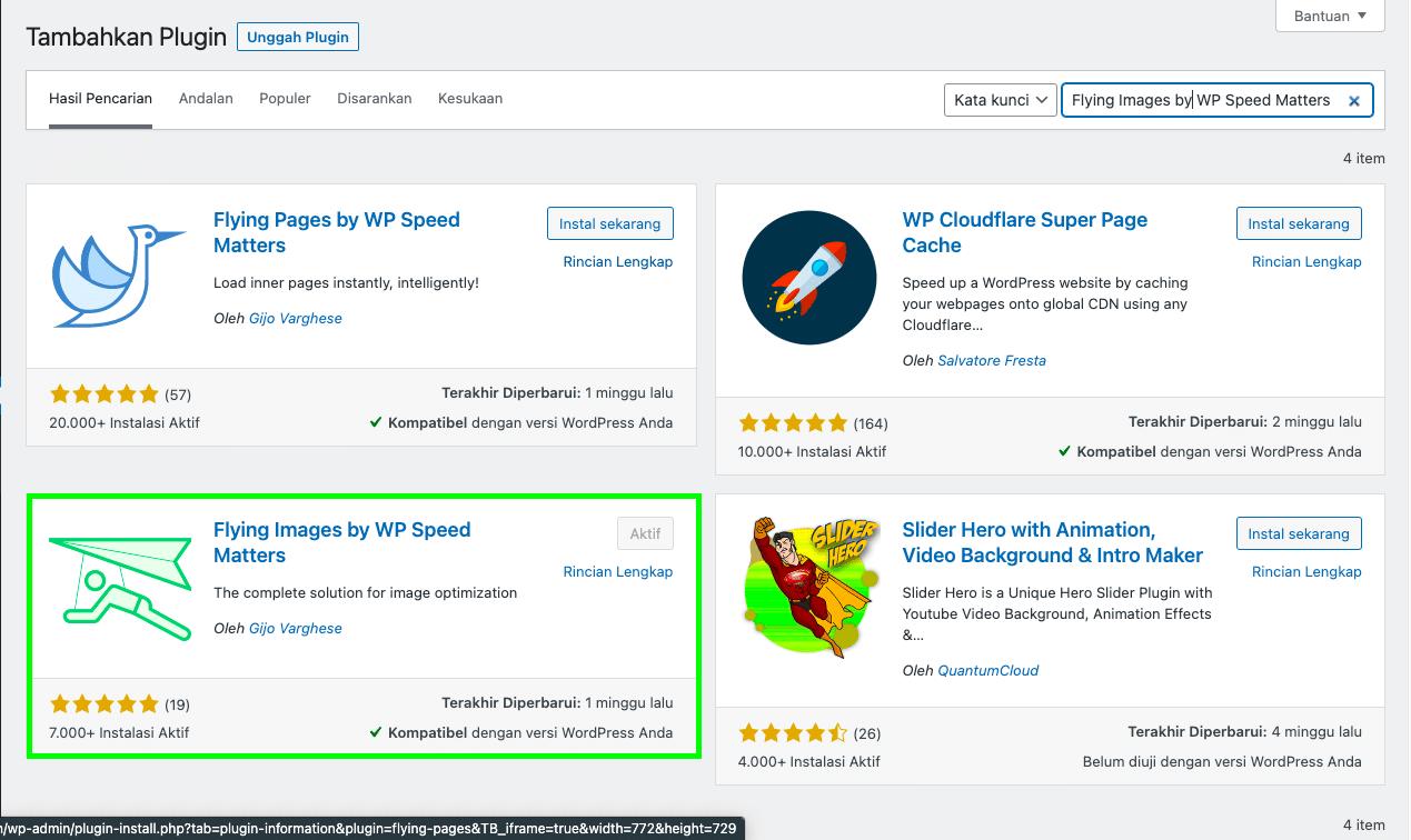 Cara instalasi plugin Flying Images oleh WP Speed Matters di situs WordPress