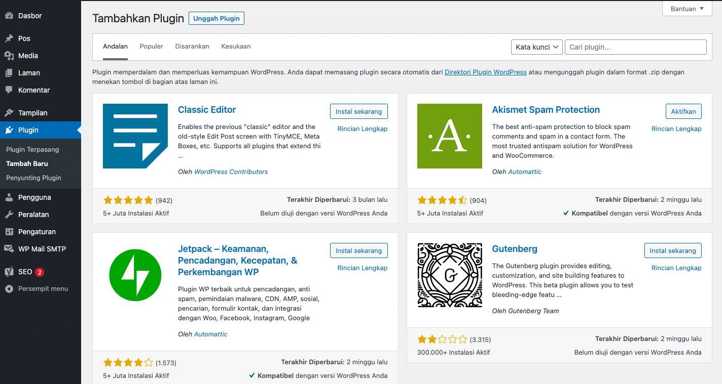Cara Menambahkan Plugin Melalui Dashboard Admin WordPress