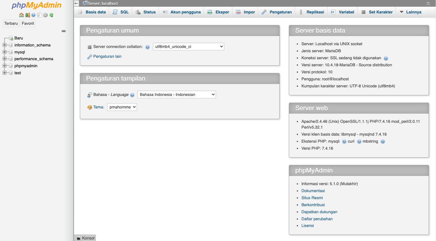 Tampilan phpMyAdmin Pada Aplikasi XAMPP
