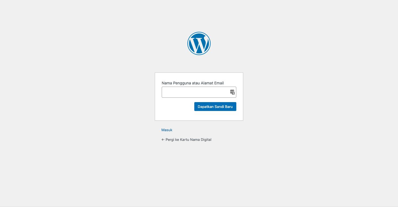Cara Reset Password Melalui Lupa Sandi Bawaan WordPress